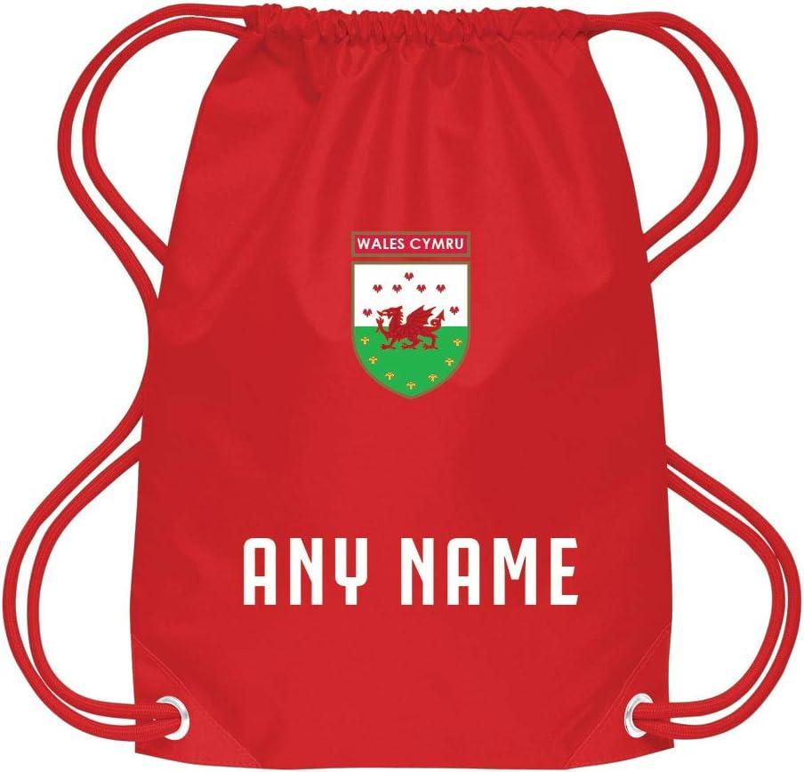 Sportees Retro Kids Personalised Wales Football School Kit Gym Bag Customisable Junior Welsh Football Bag Wales Supporters Bag Welsh Toddler Football Bag
