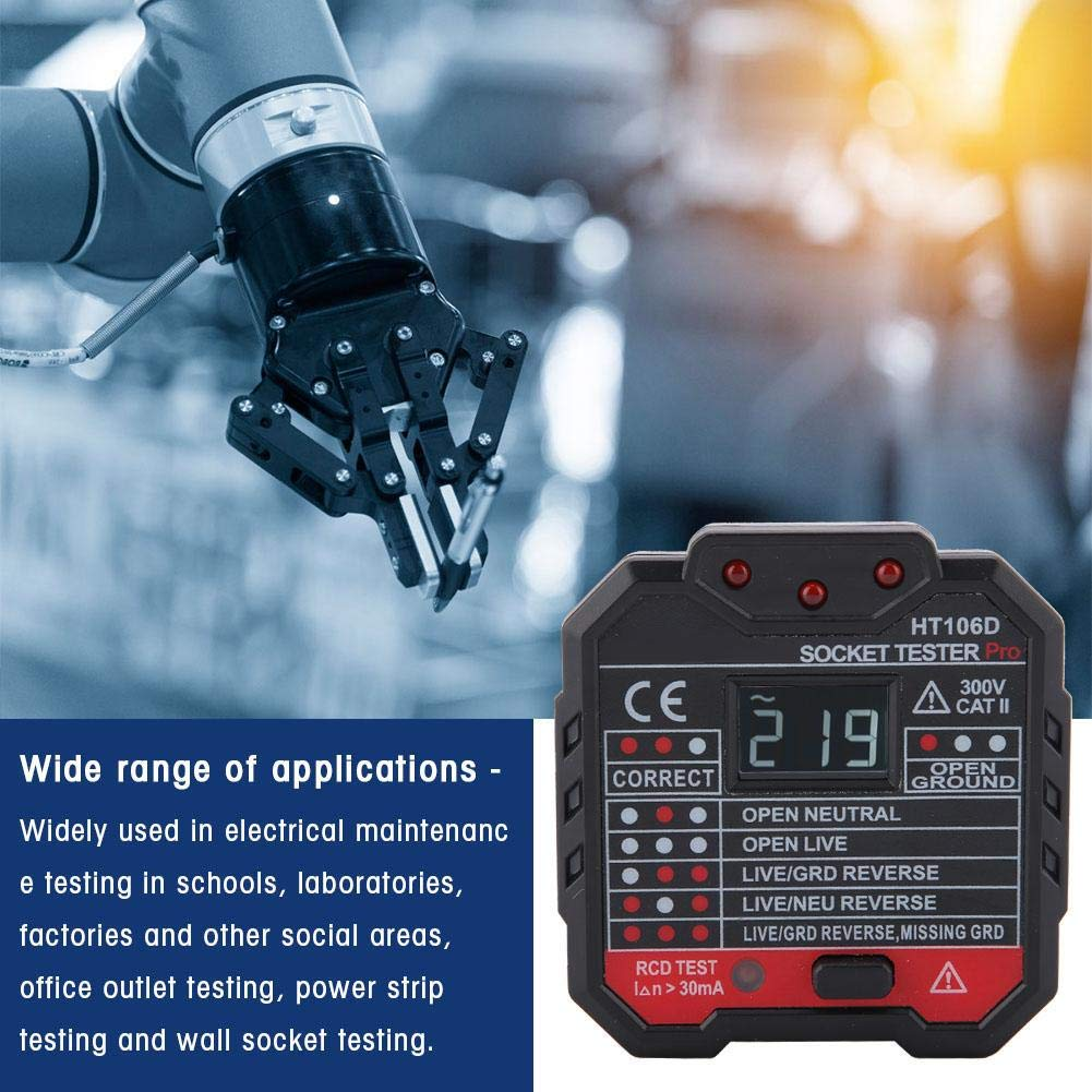 EU HT106D Akozon Comprobador de Enchufes 7 modos Detector de Polaridad de Circuito Probador de Fugas Prueba de RCD