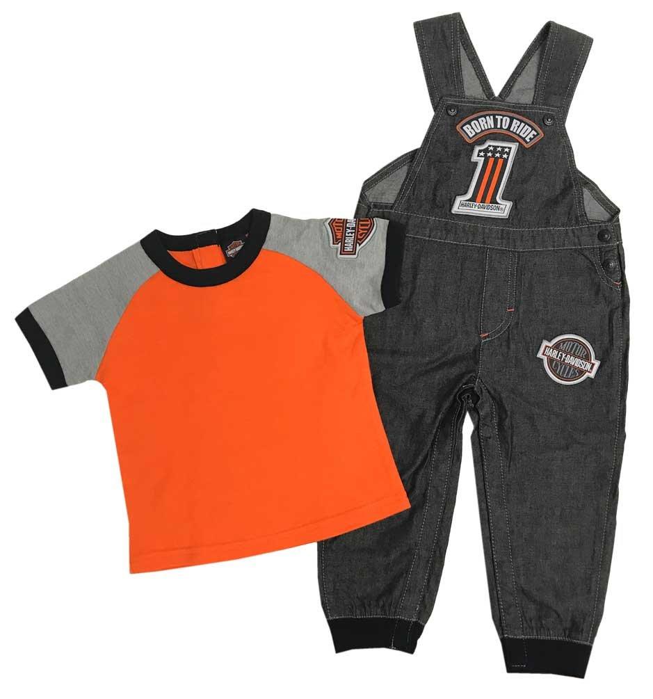 Harley-Davidson Little Boys' Tee & Black Denim Overall 2-Piece Set 3071811 (4T)