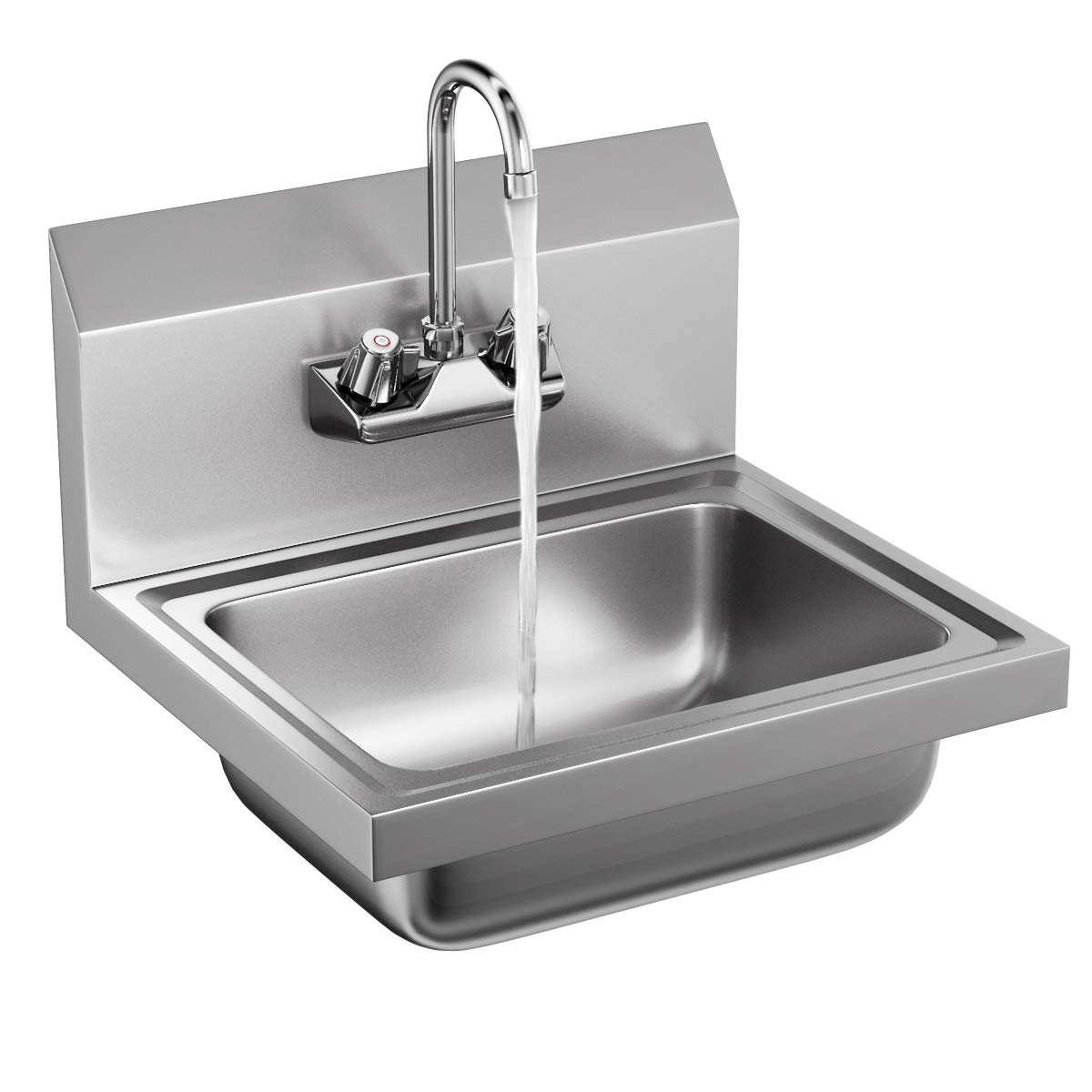 Giantex Stainless Steel Hand Wash Sink NSF Certificated Wall Mount Commercial Kitchen Heavy Duty with Faucet by Giantex