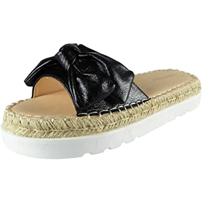 4fe2dc4738ba Loud Look New Womens Comfy Sliders Flats Slides Espadrilles Bow Slippers  Size 3 Black