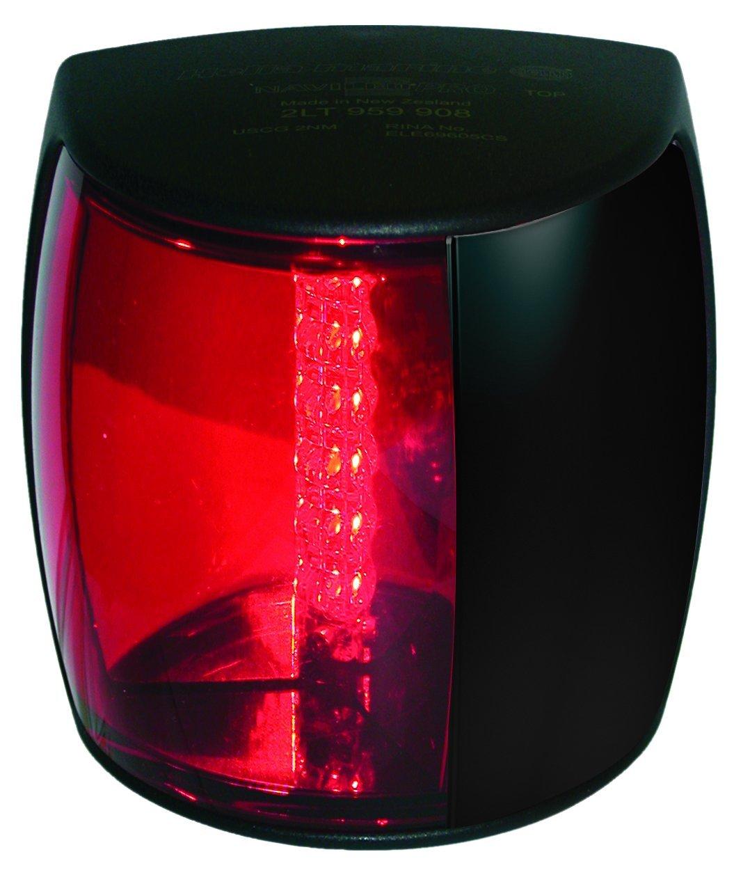 HELLA 959900201 '9900 Series' NaviLED PRO Multivolt 9-33V DC 3 NM LED Port Light with Colored Outer Lens and Black Shroud