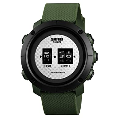 Bounabay Men s Outdoor Sport Digital Wristwatch Multi-Function 50M Waterproof Watch – Green