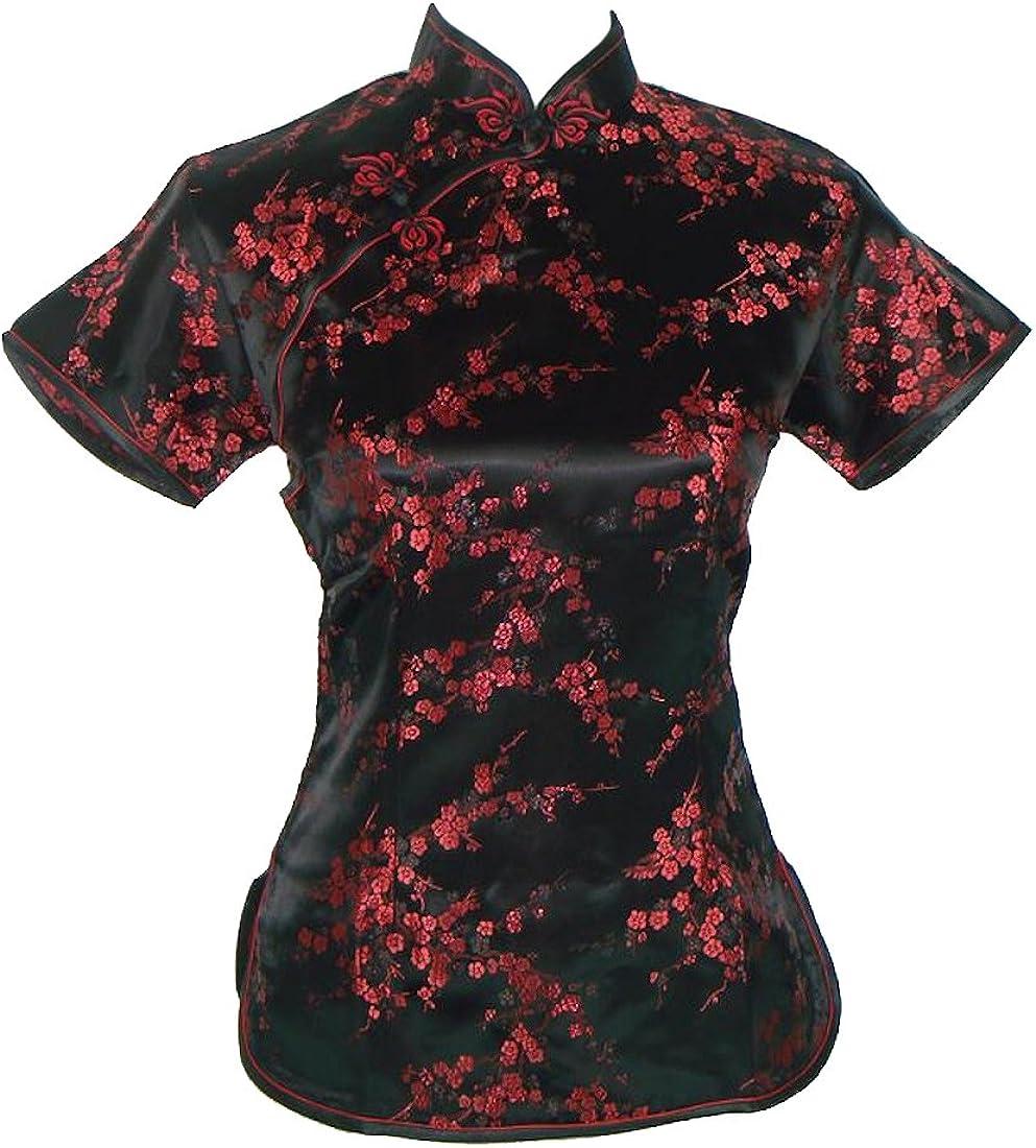 Camisa de estilo chino tradicional, de manga corta, negra y rojo oscuro, con motivos de cerezas: Amazon.es: Ropa y accesorios