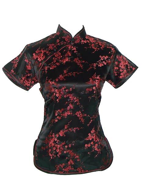 Camisa de estilo chino tradicional, de manga corta, negra y rojo oscuro, con