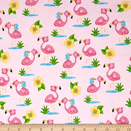 A.E. Nathan Comfy Flannel Prints Flamingoes Pink Fabric By The Yard Nathan Comfy Flannel