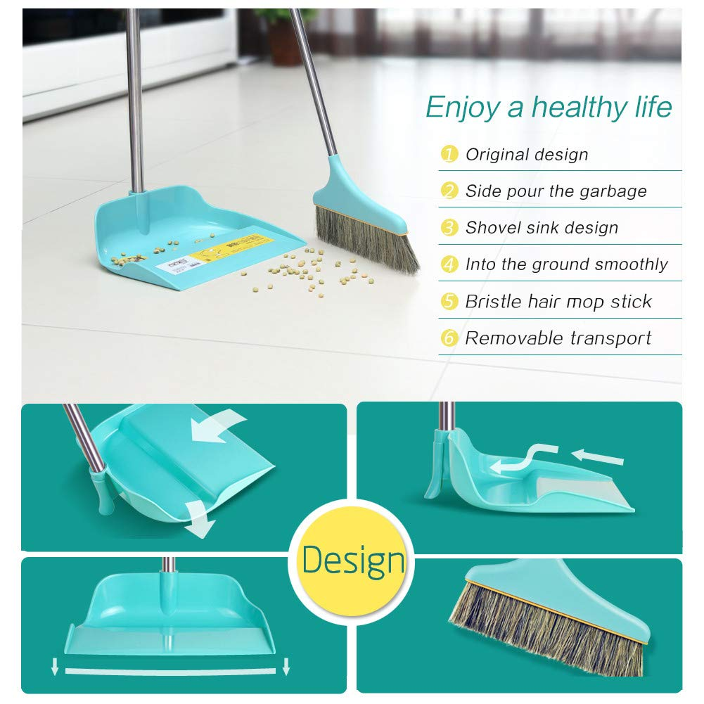 Upright Sweep Set, Material Home Casual Environmental Recycle Broom and Dustpan Set, Side Pour The Garbage for Kitchen Garden Home Office (Blue) by Biaky (Image #4)