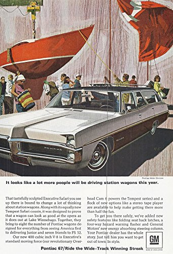 1967 Vintage Magazine Advertisement Pontiac, It loks like a lot more people will be driving station wagons this year.