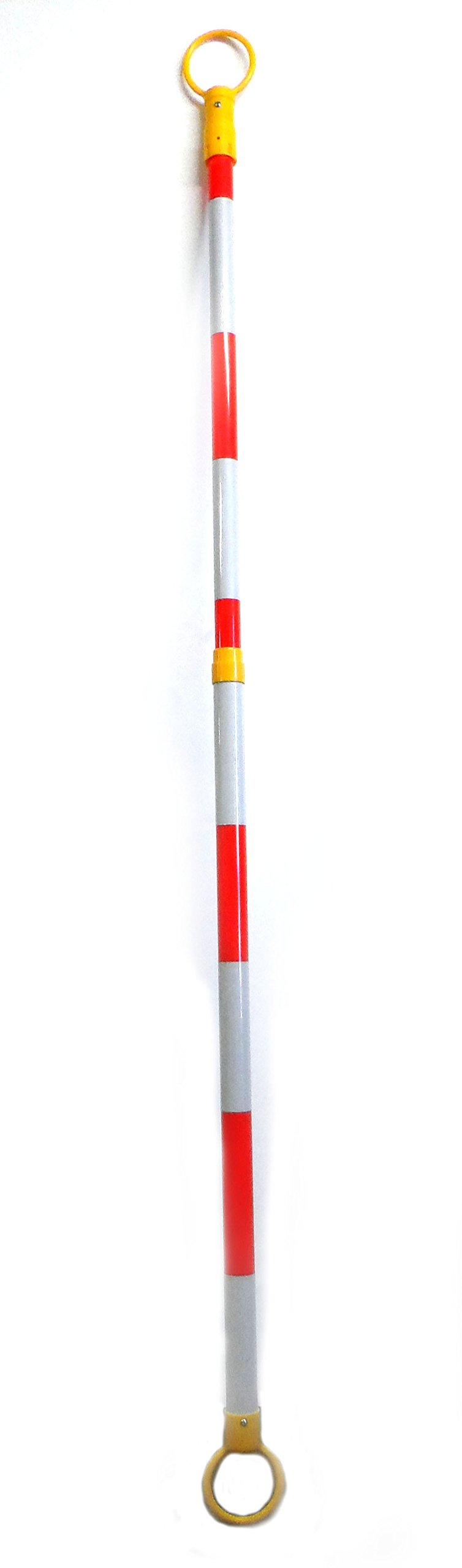 Retractable Cone Bar 2''OD x 52-80'' Length Traffic Cone Barrier Bar Yellow/White by Voyager Tools