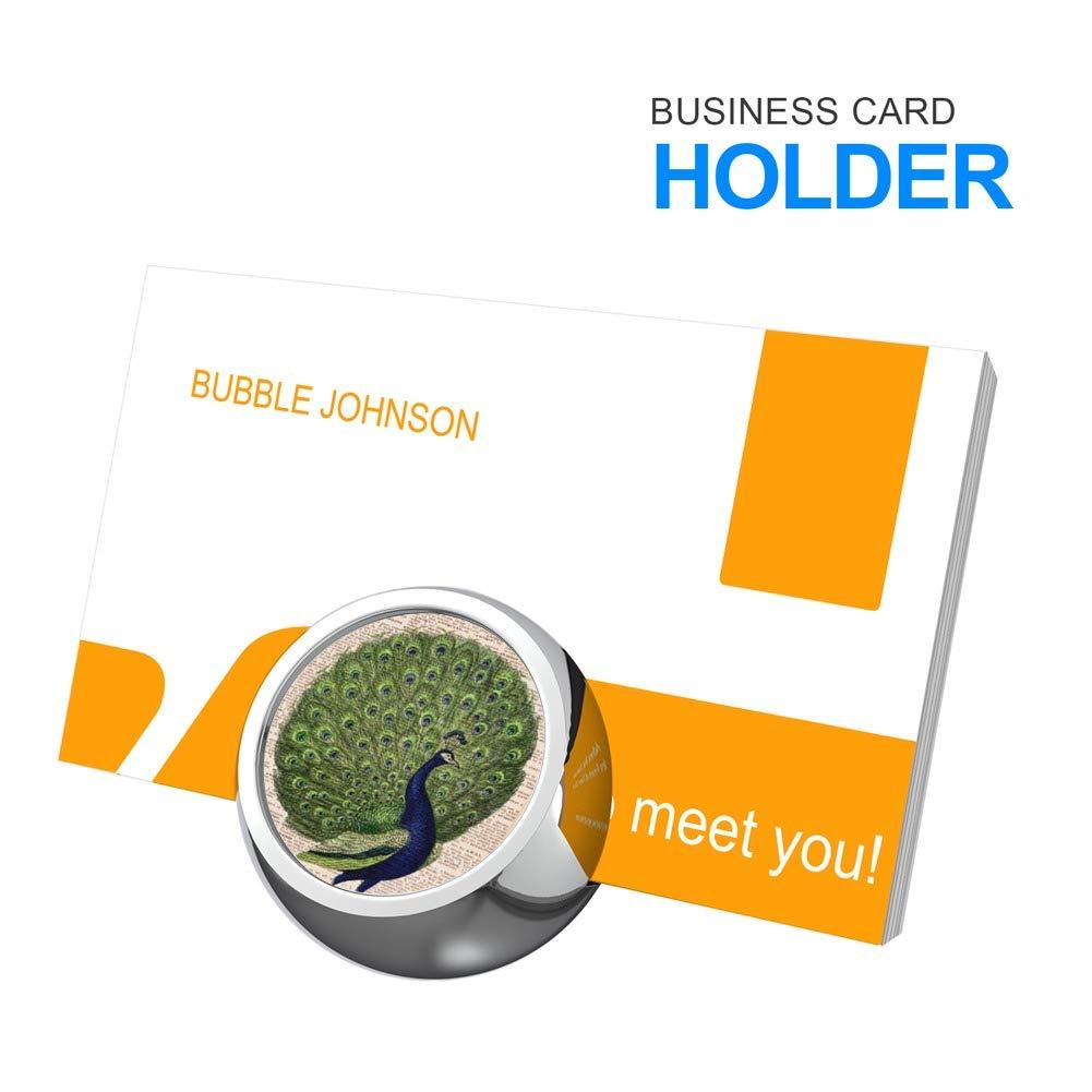 HAYSTACKIT Metal Business Card Holder Display Office Business Card Holder Desk Business Card Stand for Desk Peacock Business Card Holder