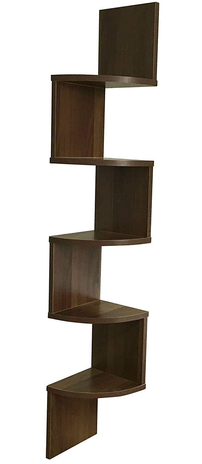 ABO Gear 5 Tier Wall Mount Corner Shelves Floating Shelves Home Decor Walnut Finish