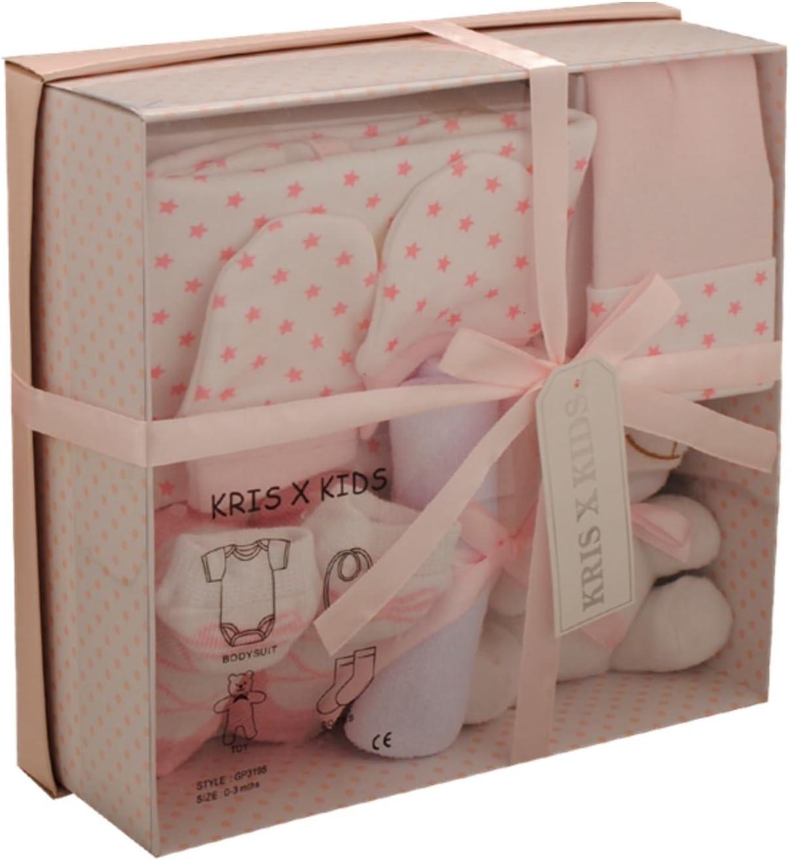 Set de regalo de lujo para beb/és y ni/ñas con juguete de peluche rosa rosa