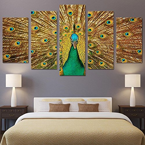 Golden Peacock ([Medium] Premium Quality Canvas Printed Wall Art Poster 5 Pieces / 5 Pannel Wall Decor Golden Peacock Painting, Home Decor Pictures - With Wooden Frame)