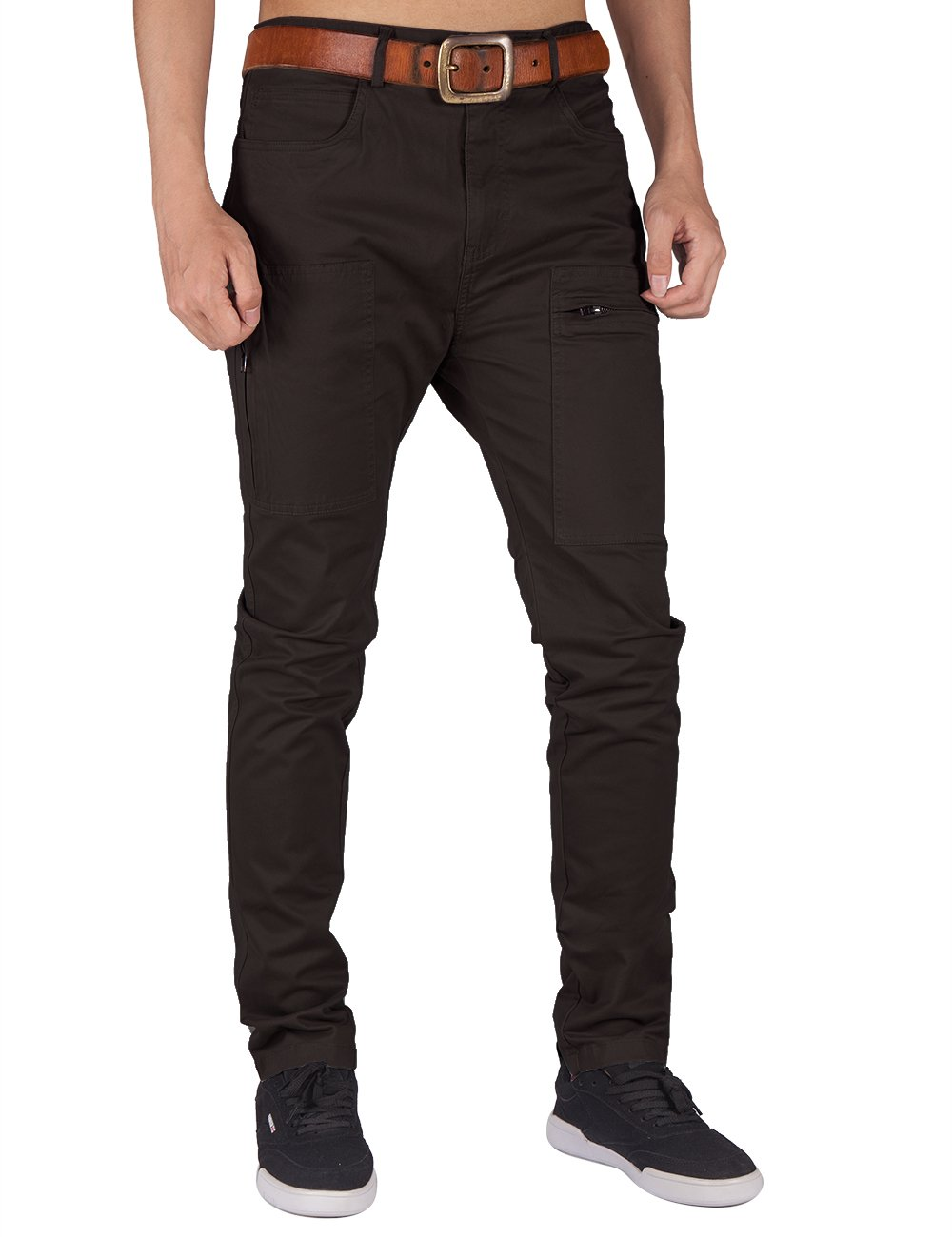 ITALY MORN Men's Chino Khaki Cotton Casual Pants M Peat Grey by ITALY MORN (Image #2)