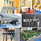 Premium Broom Holder Wall Mount Organizer with 18-Month Warranty, DealBang Mop and Broom Hanging Over Holder Rack with 5 Slots & 6 Foldable Hooks, Garage Tools Hanger Storage