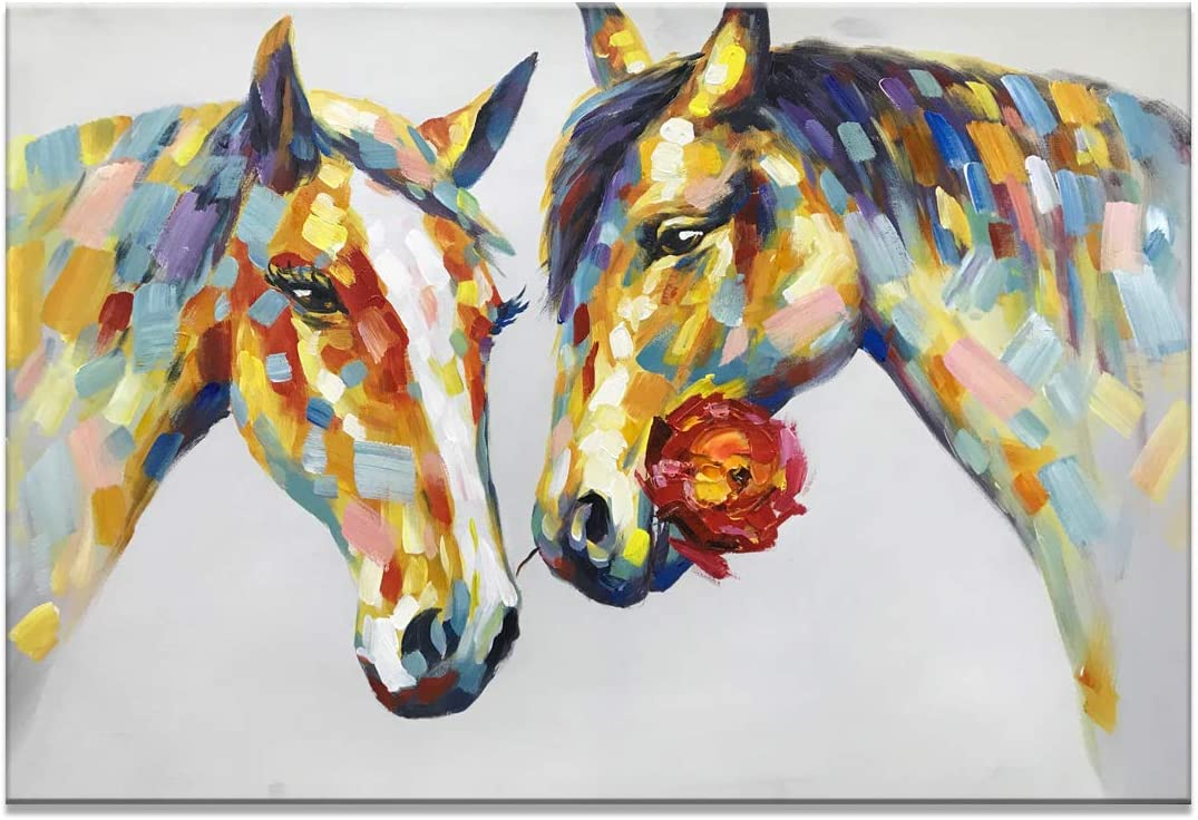 Fasdi Art 24x36inch Animal Horse 3D Hand-Painted On Canvas Abstract Artwork Art Wood Inside Framed Hanging Wall Decoration Abstract Painting