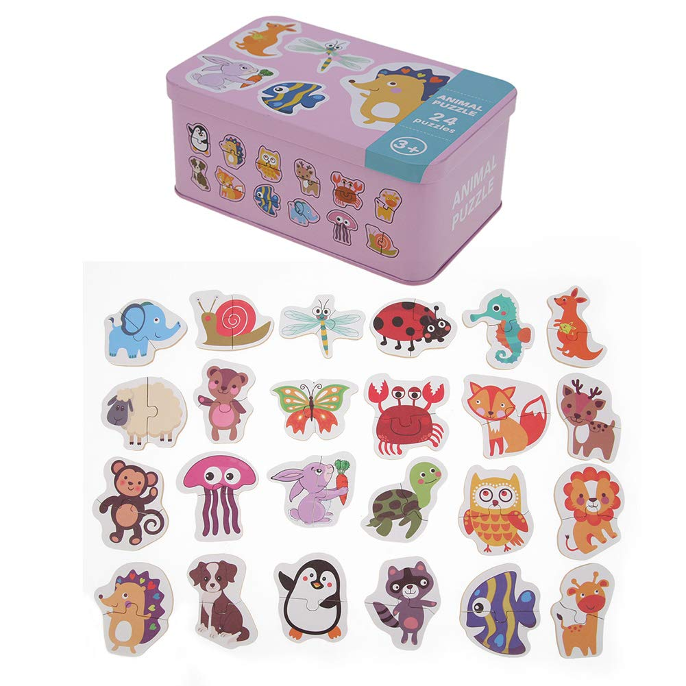 Baby Kids Cognition Cards Puzzle Toys With Iron Box Matching Game Educational
