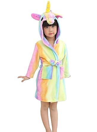 Admireme Kid s Unicorn Hooded Bathrobe Coral Fleece Sleepwear Comfy Sleep  Robe for Boys and Girls Spa 92f87dac3