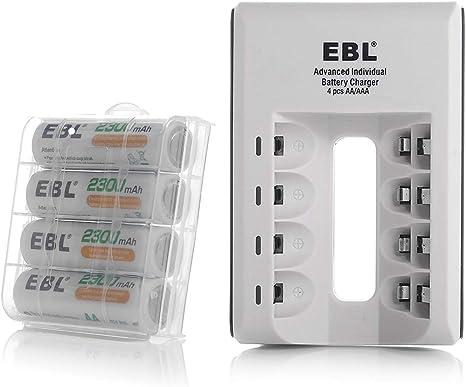 Amazon.com: EBL pilas recargables AA 2300 mAh Ni-MH con de ...