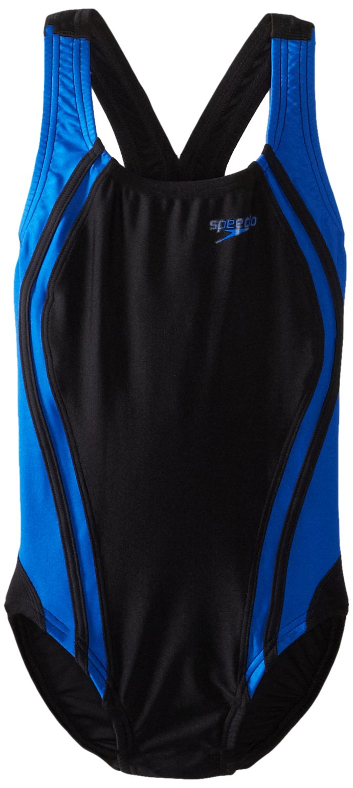 Speedo Big Girls'  Youth Quantum Splice Swimsuit, Black/Blue, 24/8