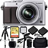 Panasonic Lumix DMC-LX100 Digital Camera (Silver) 32GB Bundle 12PC Accessory Kit. Includes Pistol Grip/Table Top Tripod + MORE - International Version (No Warranty)
