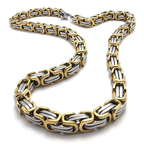 8f86aea1a9a0b Konov Jewelry Mechanic Style Stainless Steel Mens Necklace Link Chain, Gold  Silver, Length 56cm 22 inch, with Gift Bag, C19975