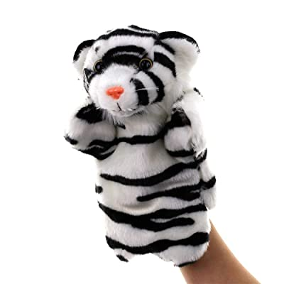 ocijf179 Kids Lovely Tiger Cartoon Animal Doll Plush Sleeve Hand Puppet Storytelling Toy,Perfect Training Children's Intelligence Gifts Black White: Toys & Games