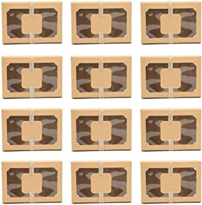 12 Pack Natural Craft Cookie Boxes with Window,Large Holiday Food Bakery Cookie for Gift Given,Pastry Candy Wedding Party Favors Brown Craft Paper Box with Gift Tags & Ribbons (Kraft brown)