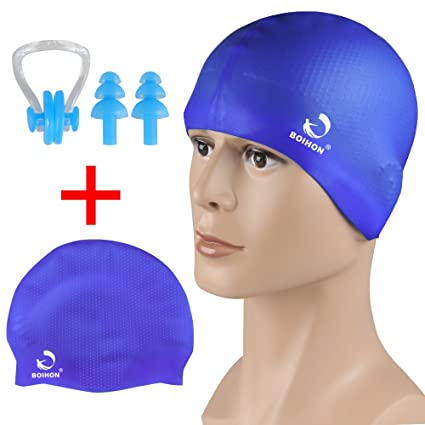 7eb749e9fba Amazon.com : Mocoosy Solid Swim Cap Silicone Swimming Hat for Adult Youths,  3D Ergonomic Design, Come with Nose Clip and Ear Plugs. : Sports & Outdoors