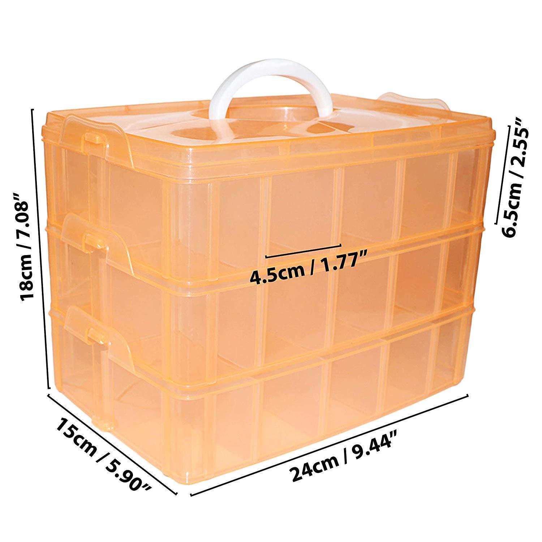 Joyas Organizador para Artes Caja Almacenamiento 3 Niveles Pl/ástico Durazno 18cmx24cmx15cm Almacenaje con asa Apilable Contenedor con 30 Separadores Ajustable Cosm/éticos Abalorios Manualidades