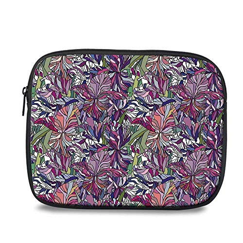 (Floral Durable iPad Bag,Tropical Jungle Rainforest Artistic Abstraction Narcissus Iris Vintage Style Nature Decorative for iPad,10.6