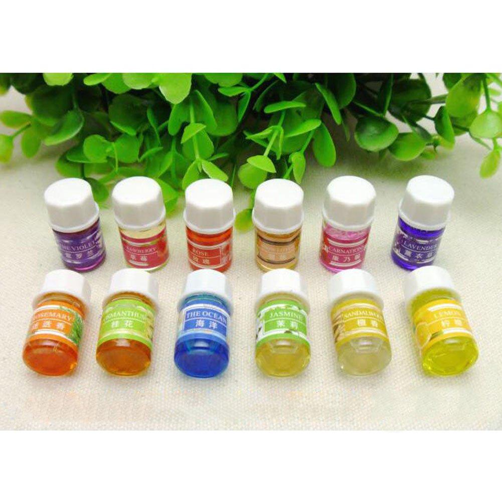 Aromatherapy Top Essential Oils Therapeutic Grade Set 12 Bottles/ 3ml ( lavender, rose, jasmine, osmanthus, sandalwood, ocean, lemon, tea tree, snow lotus, rosemary, violet, carnation) Gprince