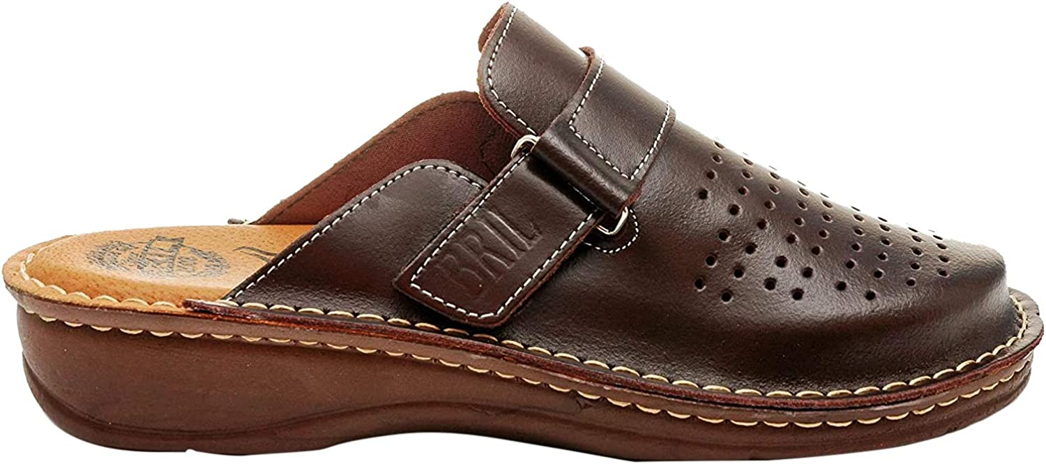 BRIL Dr Punto Rosso U20 Leather Slip-on Mens Mule Clogs Slippers Shoes