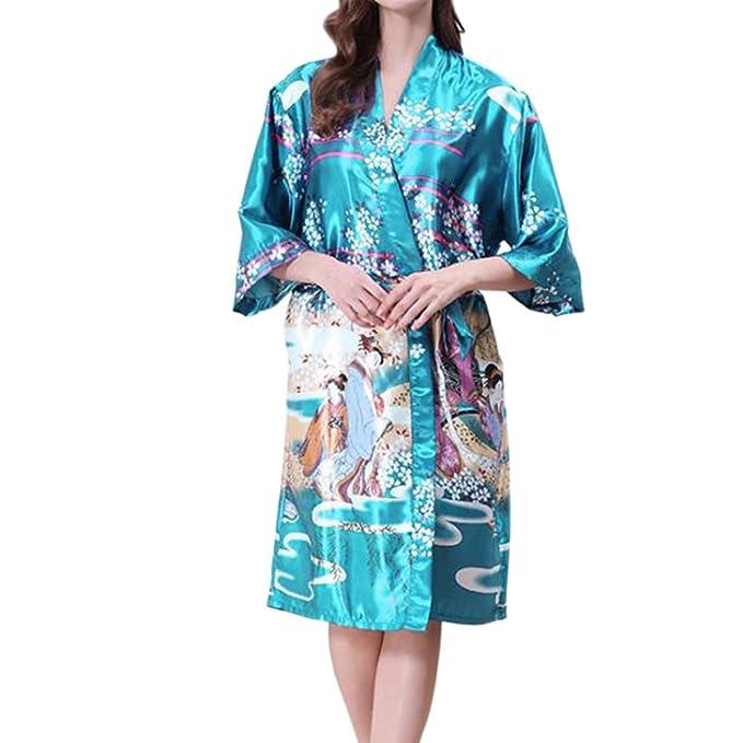 Deylaying Niña Mujer Peso Ligero Kimono Robe Impreso Satín Seda Breathable Señoras Ropa de Dormir Bata de baño Dressing Gown Pijama Nightdress Sleepwear: ...