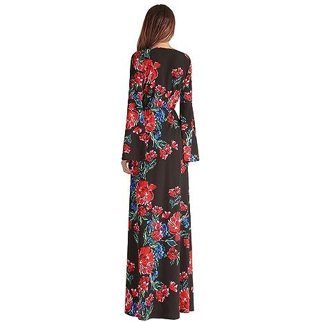 Vestido de mujer Vestido de línea de una línea de Split Print Maxi V cuello de gasa de impresión Trompeta mangas Irregular de la manera vestidos largos ...