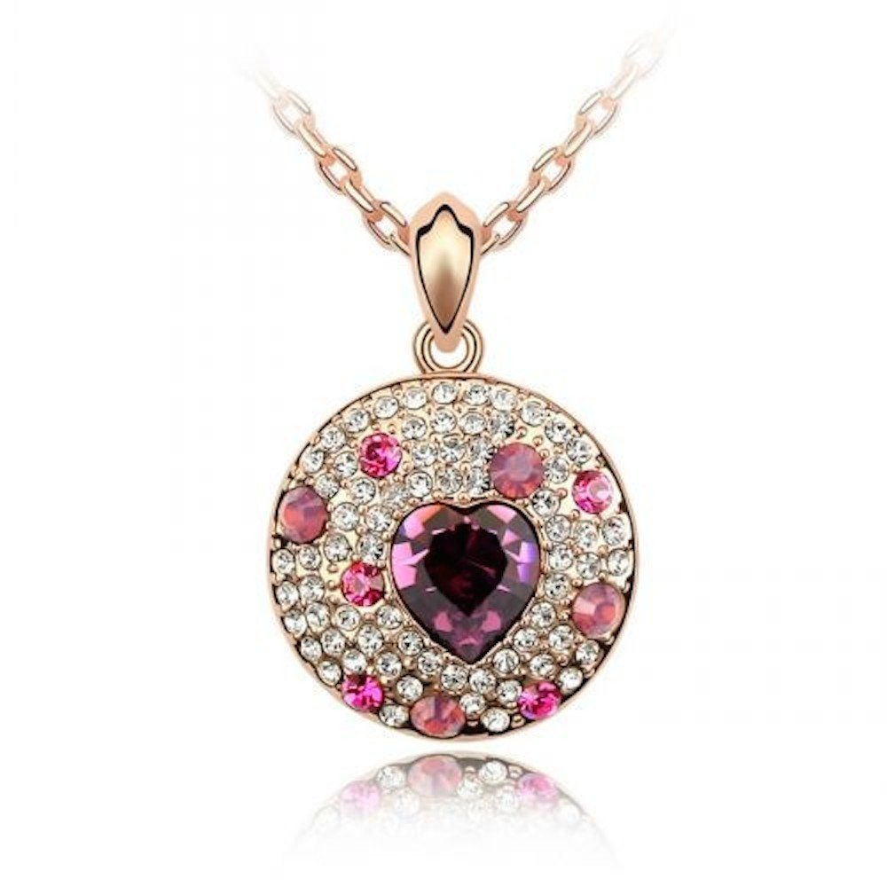 Sparkling Heart Cluster Medallion Rose Colored Charm Necklace