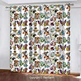 FashSam Printed Blackout Curtains Collection of Cartoon Animals Adorable Funny Toy Figures Play Time Childhood Theme Darkening Panel for Bedroom(84'X62')