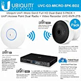 UniFi Access Point UAP-AC-LITE Dual Radio and UniFi Camera UVC-G3-MICRO 5Pack 1080p HD IP Camera with Unifi Network Video Recorder 2TB UVC-NVR-2TB Hard Drive