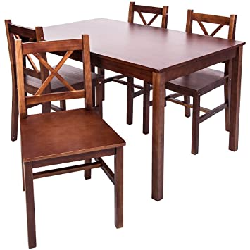 Merax 5 PC Solid Wood Dining Set 4 Person Table And Chairs Walnut