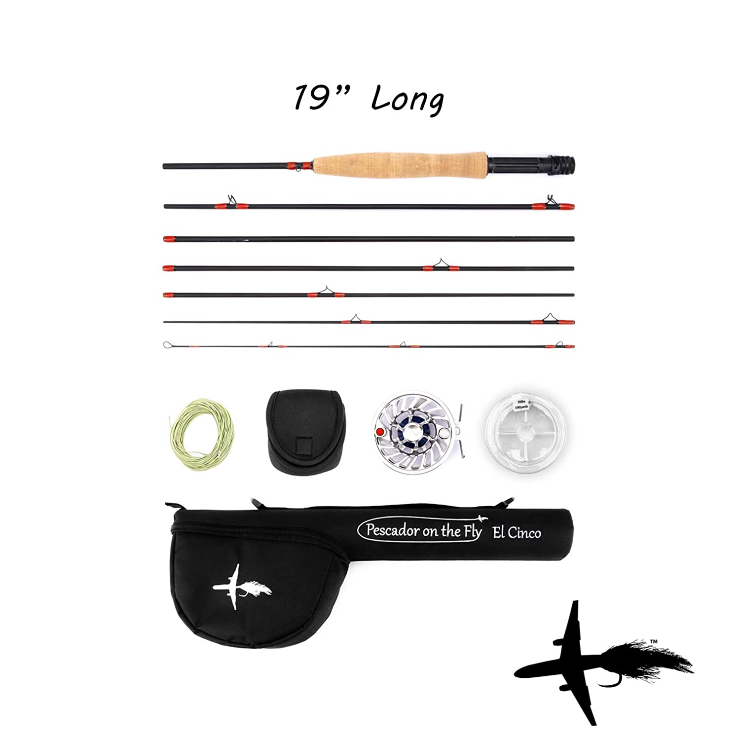 Packable Fly Fishing Rod Reel Combo Travel Fly Rod Combo Combos Individual Rods Available Fly Fishing Kit for Travel, Backpacking, Camping, or Hiking Back Up Fly Rods