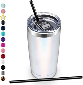 ALOUFEA 20oz Stainless Steel Tumbler with Lid and Straw, Vacuum Insulated Tumbler Cup, Double Wall Coffee Tumbler, Powder Coated Travel Coffee Mug, Glitter White