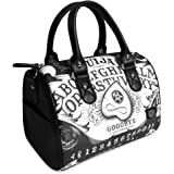 Liquorbrand Liquor Brand Ouija Board II Occult Horror Goth Round Purse Handbag, Black, Medium