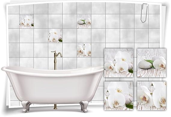 Fliesenaufkleber Fliesenbild Blumen Orchidee SPA Wellness Salz Dekoration Bad