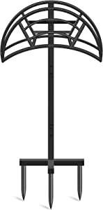 TomCare Garden Hose Holder Detachable Water Hose Holder Metal Hose Hanger Heavy Duty Hose Holder Free Standing Garden Hose Storage Hose Stand Decorative Hose Organizer for Outside Yard, Black