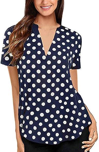 Luckycat Mujer Camiseta Mangas Corta Blusa Elegante Noche Casual Oficina Mujeres Manga de Campana Camisa Slim fit del Lunar Señoras Casual Blusa Tops Casual de Mujer Solid Camisa Blusa Camisas: Amazon.es: Ropa