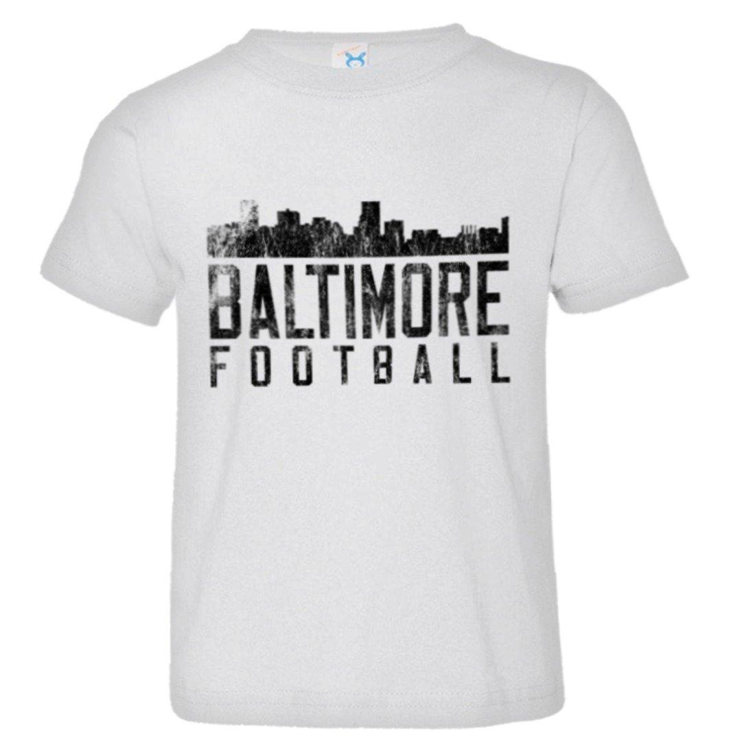 PleaseMeTees Toddler Baltimore Football Skyline Sports Distressed HQ Tee Shirt