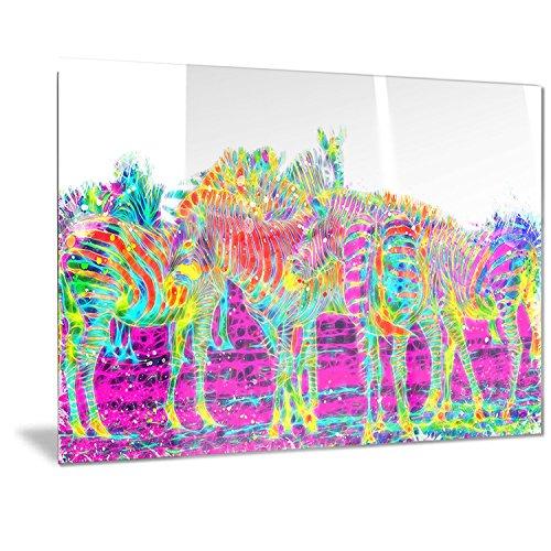 Wall Zebra Metal (Designart Rainbow Zebras- Animal Metal Wall Art - MT2364 - 40x30)