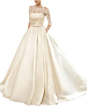 Off Shoulder Lace Half Sleeve Prom Dress Two Pieces Satin Ball Gown ...