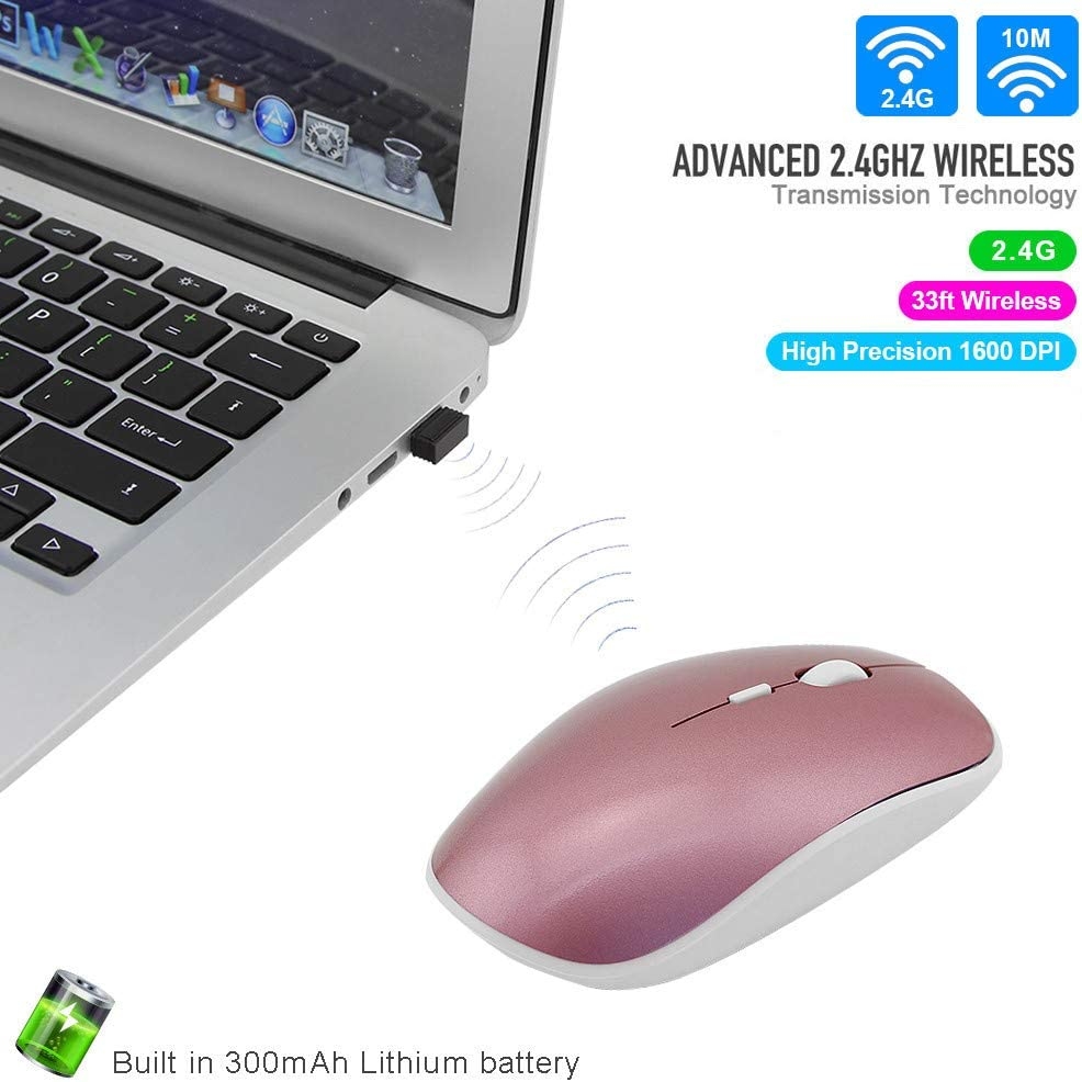 LIU551 Wireless Silent Mouse Slim Rechargeable Optical Computer Mause 800//1200//1600 DPI Gaming Mice with Mouse Pad for PC Laptop,A