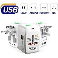Farraige® Universal Travel Adapter with Built-in Dual USB Charger Ports 100-240V Surge/Spike Protected Electrical Plug (White) - 1 Year Warranty
